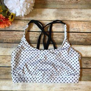 Lululemon black and white polka dot crisscross bra